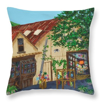 Glass Blower Shop Harmony California Throw Pillow