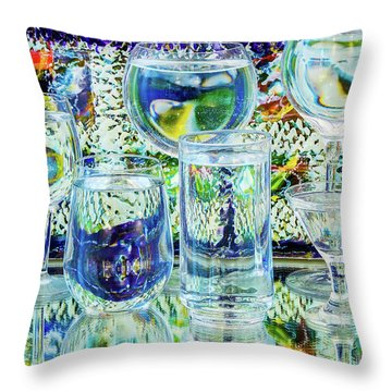 Glass Blues Throw Pillow