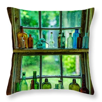 Glass Bottles Throw Pillow