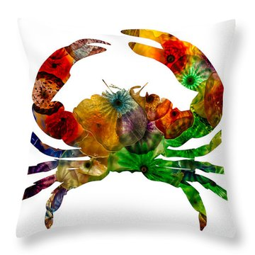 Glass Crab Throw Pillow
