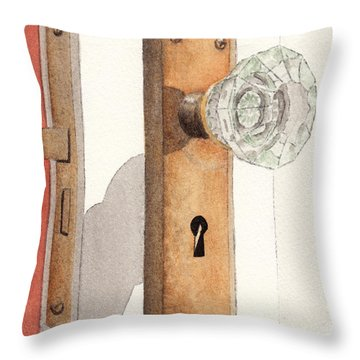 Glass Door Knob And Passage Lock Revisited Throw Pillow by Ken Powers