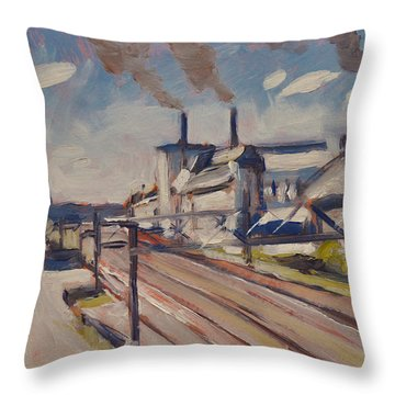 Glass Factory Along The Railway Track Throw Pillow