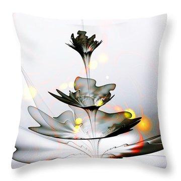 Throw Pillow featuring the mixed media Glass Flower by Anastasiya Malakhova