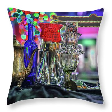 Glass In The Frame Of Colorful Hearts Throw Pillow