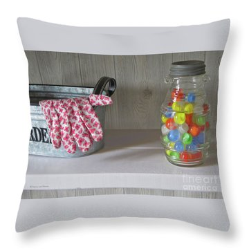 Throw Pillow featuring the photograph Glass Marbles From Childhood by Nancy Lee Moran