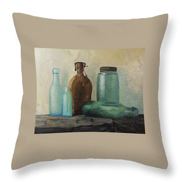 Throw Pillow featuring the painting Glass by Rachel Hames