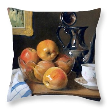 Glass, Silver And Apples Throw Pillow