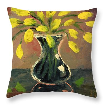 Glass Vase And Yellow Flowers Throw Pillow