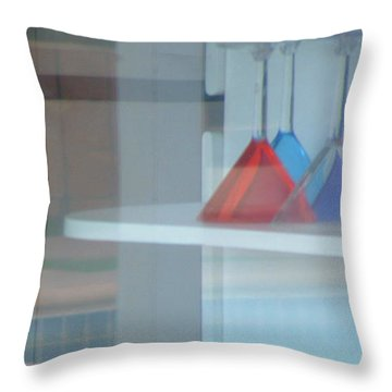 Glass Water Plastic Flutes Throw Pillow by Stan  Magnan