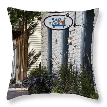Glass Work Bench Throw Pillow by Andrea Silies
