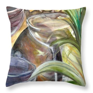 Glasses Grapes And Plants Throw Pillow