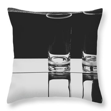 Glasses On A Table Bw Throw Pillow