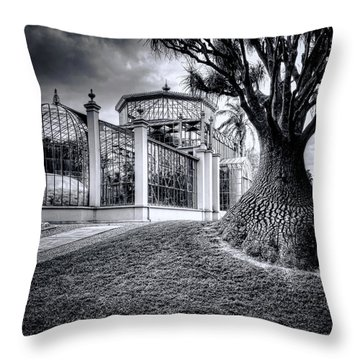 Glasshouse And Tree Throw Pillow