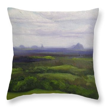 Throw Pillow featuring the painting Glasshouse Mountains Queensland by Chris Hobel