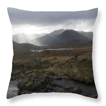 Glen Affric Storm Throw Pillow by Sue Arber