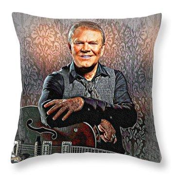 Glen Campbell - Singing Icon Throw Pillow