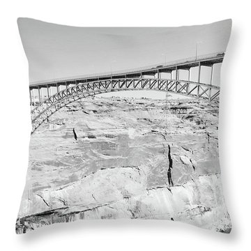 Glen Canyon Bridge Bw Throw Pillow