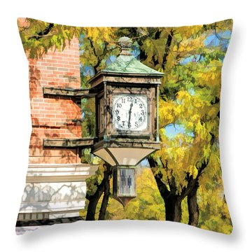 Glen Ellyn Corner Clock Throw Pillow by Christopher Arndt