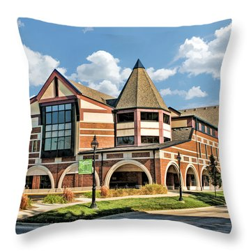 Throw Pillow featuring the painting Glen Ellyn Public Library by Christopher Arndt