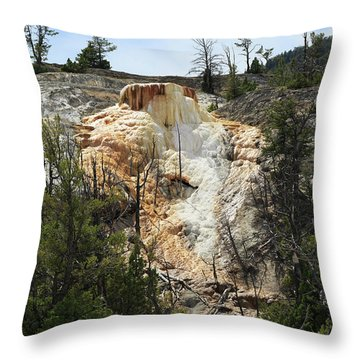 Glen Spring At Mammoth Hot Springs Upper Terraces Throw Pillow by Louise Heusinkveld