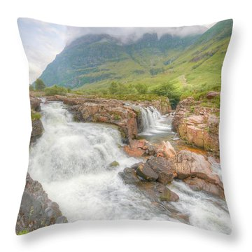 Glencoe And The River Coe Throw Pillow by Ray Devlin