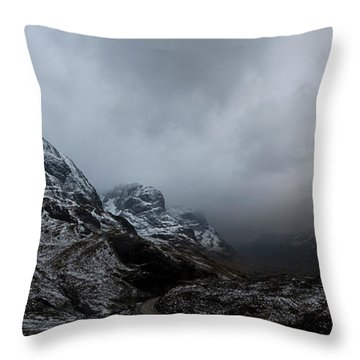 Throw Pillow featuring the digital art Glencoe - Three Sisters by Pat Speirs