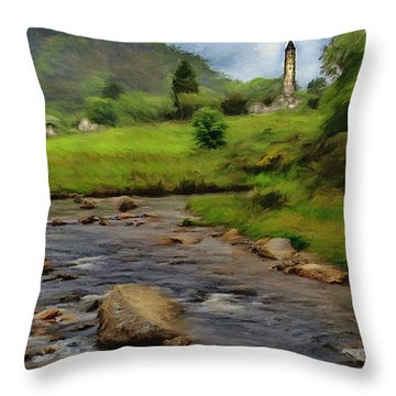 Glendalough In The Distance Throw Pillow by Jeff Kolker