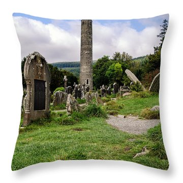 Glendalough Tower Ireland Throw Pillow