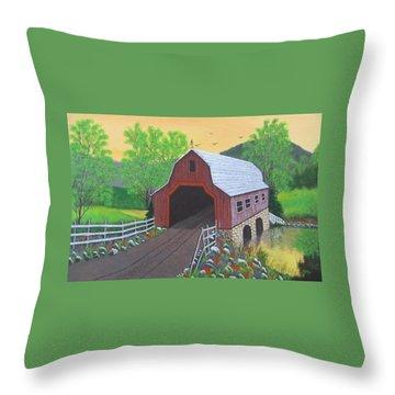 Glenda's Covered Bridge Throw Pillow