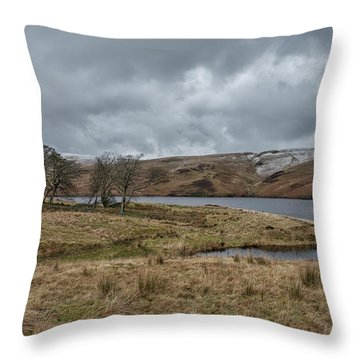 Throw Pillow featuring the photograph Glendevon Reservoir In Scotland by Jeremy Lavender Photography