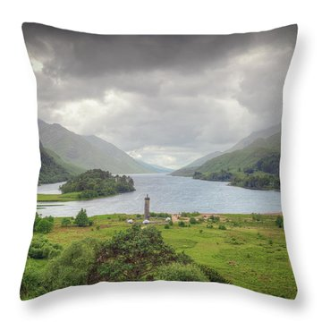 Glenfinnan Valley Throw Pillow by Ray Devlin