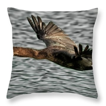 Gliding Cormorant Throw Pillow