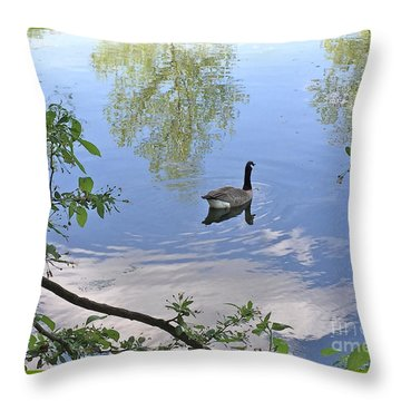 Gliding Goose Throw Pillow