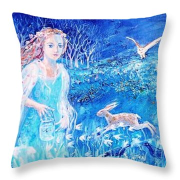 Glimmering Girl Throw Pillow