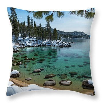 Glistening Cove By Brad Scott Throw Pillow