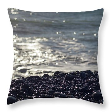 Glistening Rocks And The Ocean Throw Pillow