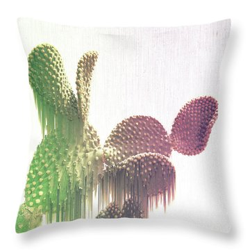 Glitch Cactus Throw Pillow