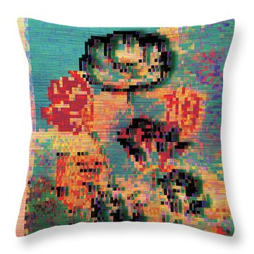 Throw Pillow featuring the digital art Glitched Tulips by Bee-Bee Deigner