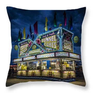Glittering Concession Stand At The Colorado State Fair In Pueblo In Colorado Throw Pillow