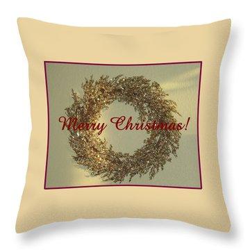 Throw Pillow featuring the photograph Glittery Wreath by Ellen O'Reilly