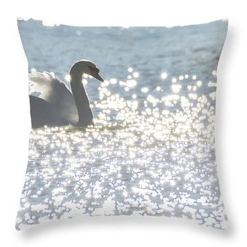 Glitz And Glamory Swan Throw Pillow