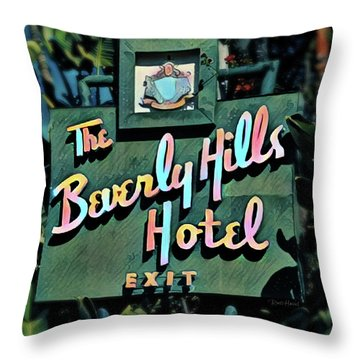 Glitzy Beverly Hills Hotel Throw Pillow