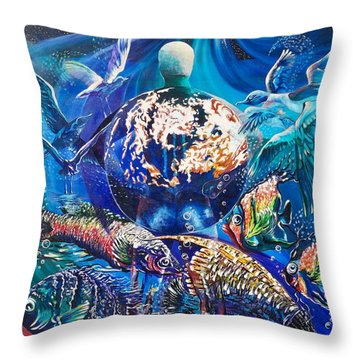Planet  Earth - Our Family Tree Throw Pillow