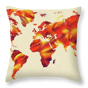 Global Warming Watercolor Map Of The World Throw Pillow