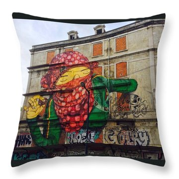 Globe Building Art Painting Throw Pillow by Sheila Mcdonald
