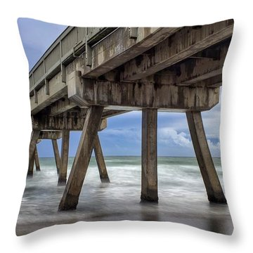 Gloomy Pier Throw Pillow