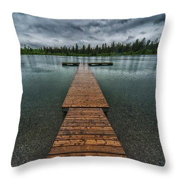 Throw Pillow featuring the photograph Gloomy Rainy Day On Norbury Lake by Darcy Michaelchuk