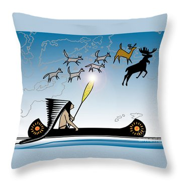 Glooscap Creates The West Isles Throw Pillow