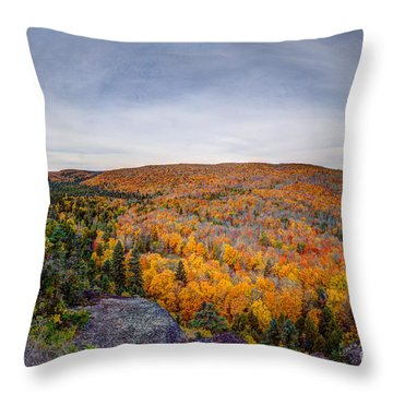 Glorious Autumn Lutsen Mountain Resort North Shore Minnesota Throw Pillow