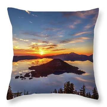 Throw Pillow featuring the photograph Glorious Crater Lake Sunrise by Pierre Leclerc Photography